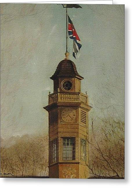 Clock Tower- Williamsburg Capital Greeting Card by Charles Roy Smith