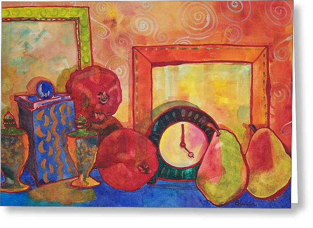 Warm Tones Greeting Cards - Clock Work Greeting Card by Blenda Studio