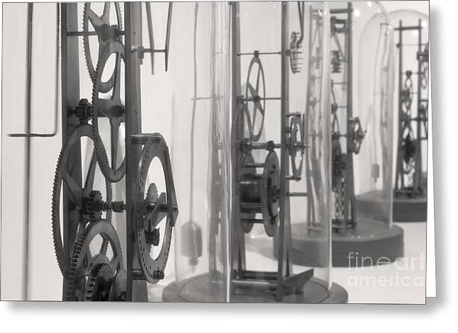 Mechanism Photographs Greeting Cards - Clock Workings in black and white Greeting Card by Karen Foley