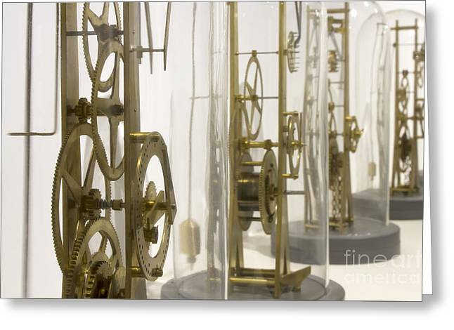 Mechanism Photographs Greeting Cards - Clock Workings Greeting Card by Karen Foley