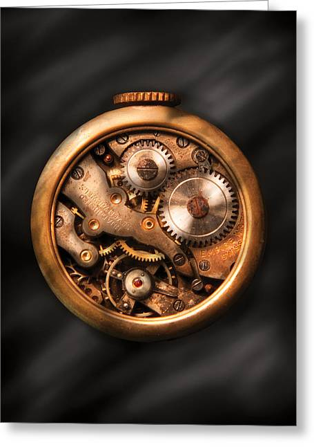 Clockmaker - Gears Greeting Card by Mike Savad