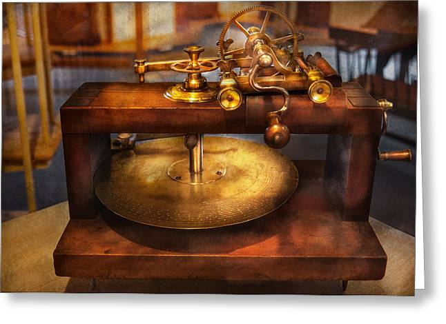 Clocksmith Greeting Cards - Clocksmith - The gear cutting machine  Greeting Card by Mike Savad