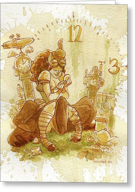 Steampunk Greeting Cards - Clockwork Greeting Card by Brian Kesinger