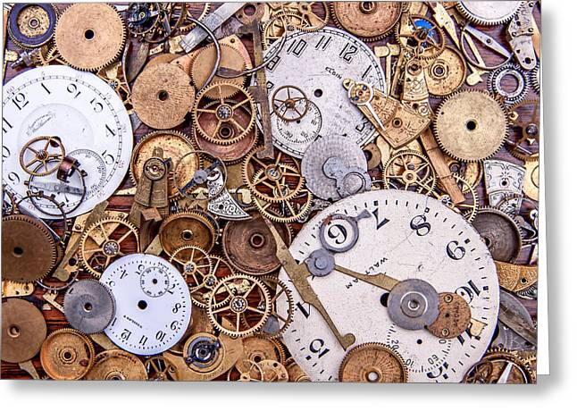 Cog Greeting Cards - Clockworks Still Life Greeting Card by Tom Mc Nemar