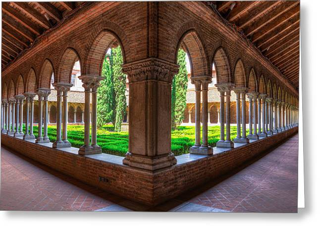 French Open Greeting Cards - Cloister insde Eglise des Jacobins or Church of the Jacobins Greeting Card by Semmick Photo