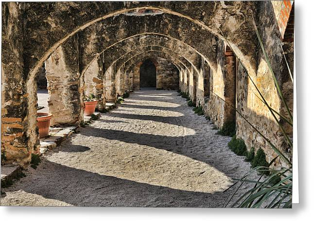 Stones Greeting Cards - Cloistered - Mission San Jose Greeting Card by Stephen Stookey