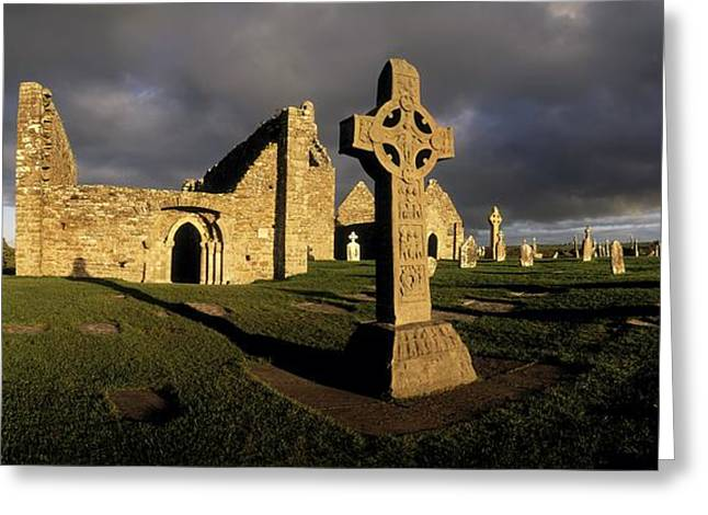 Headstones Greeting Cards - Clonmacnoise Monastery, Co Offaly Greeting Card by The Irish Image Collection