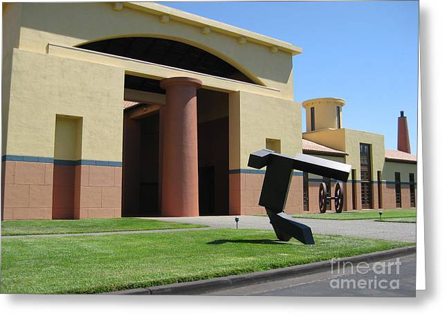 Vines Sculptures Greeting Cards - Clos Pegase Entrance Greeting Card by Patti Britton
