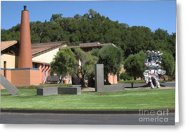 View Sculptures Greeting Cards - Clos Pegase Side View Greeting Card by Patti Britton
