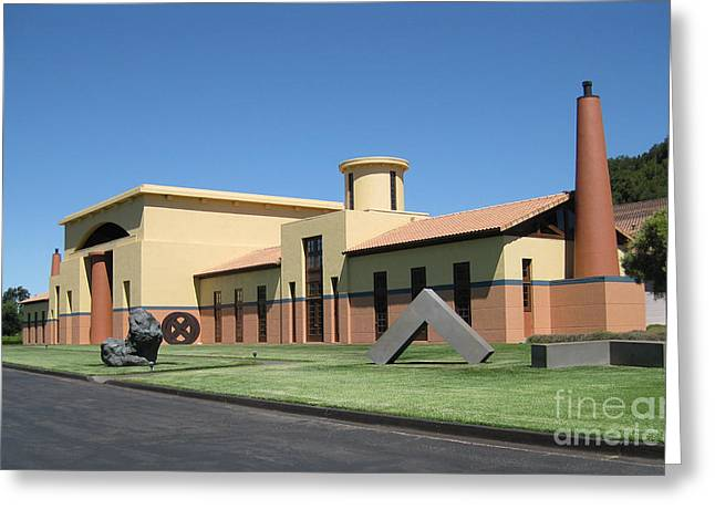 Food And Beverage Sculptures Greeting Cards - Clos Pegase Winery Greeting Card by Patti Britton
