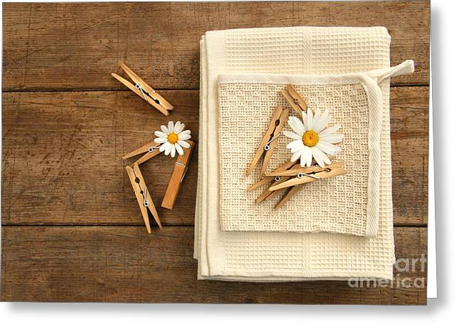Clips Greeting Cards - Close-pins and dish towels on old table  Greeting Card by Sandra Cunningham