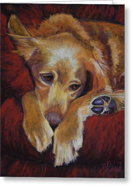 Sleeping Dogs Greeting Cards - Close to Dreamland Greeting Card by Billie Colson