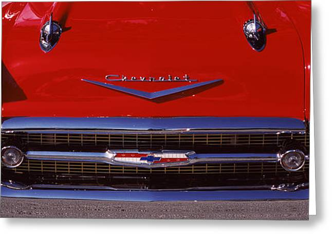 Collector Hood Ornament Greeting Cards - Close-up Of A Hood Ornament Of A 57 Greeting Card by Panoramic Images