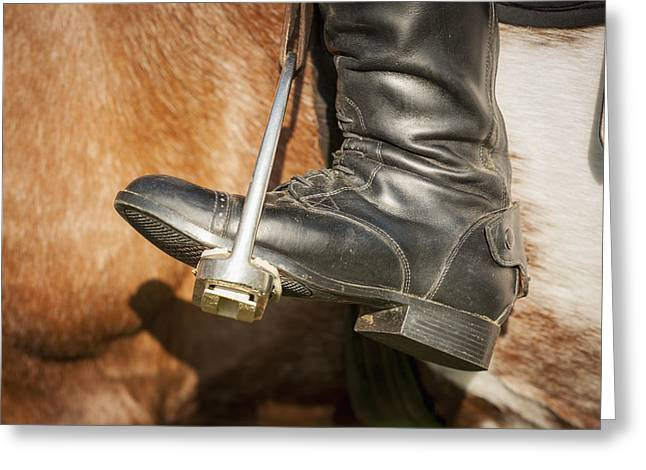 Black Boots Photographs Greeting Cards - Close Up Of A Riding Boot In Stirrups Greeting Card by Remsberg Inc