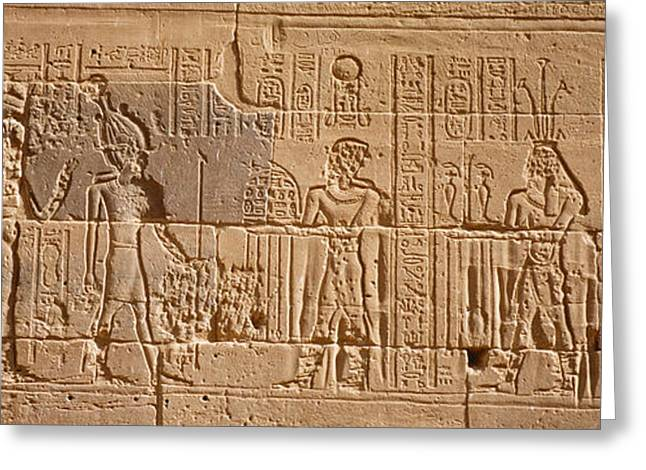 Egyptian Culture Greeting Cards - Close-up Of Carvings On A Wall, Temple Greeting Card by Panoramic Images