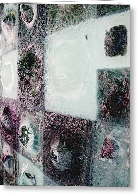 Stainless Steel Glass Greeting Cards - close up of Country Hills panel 5 Greeting Card by Sarah King