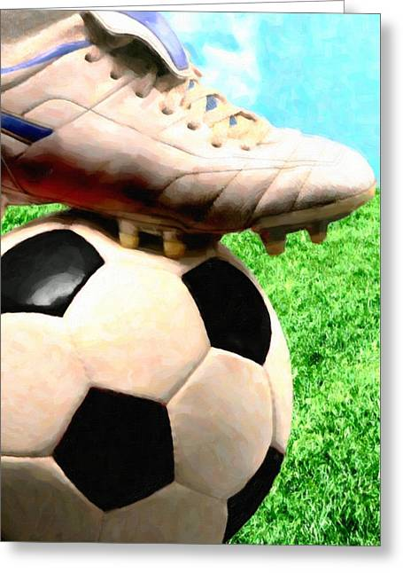 Strategy Paintings Greeting Cards - Close up of foot on top of soccer ball  Greeting Card by Lanjee Chee