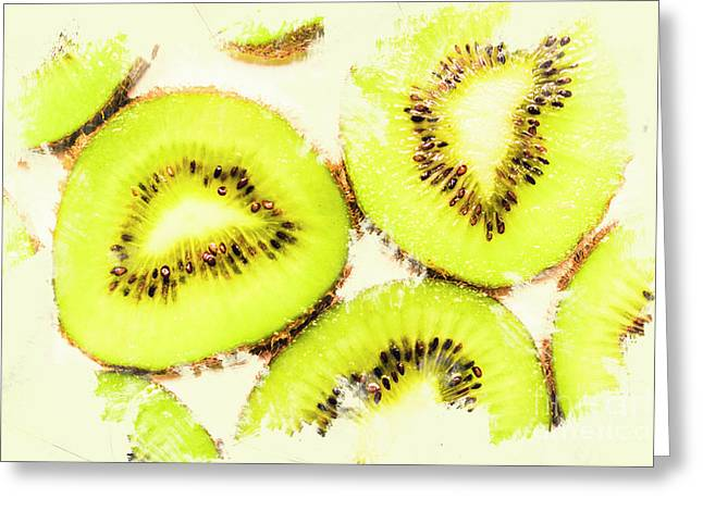Close Up Of Kiwi Slices Greeting Card by Jorgo Photography - Wall Art Gallery