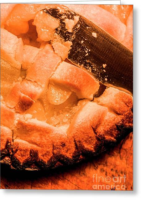 Close Up Of Knife Cutting Into Pie Greeting Card by Jorgo Photography - Wall Art Gallery