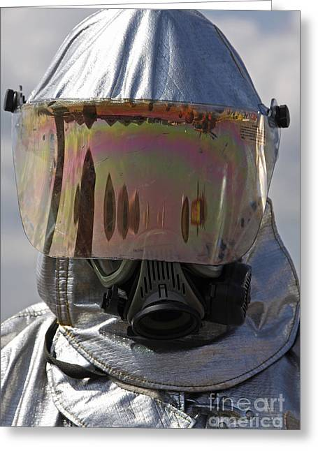 Obscured Face Greeting Cards - Close-up View Of A Firefighter Greeting Card by Stocktrek Images