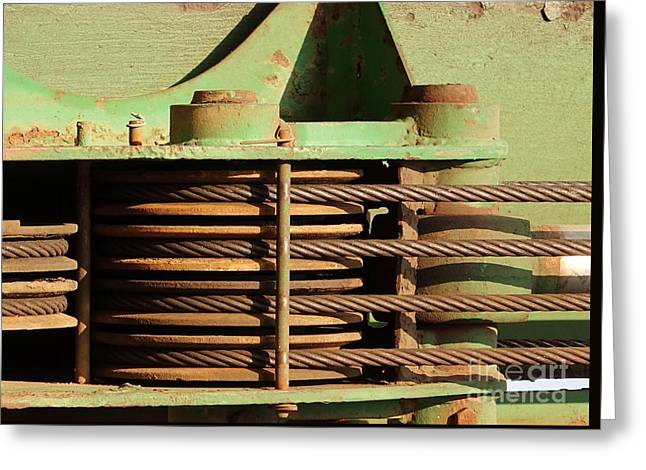 Helix Greeting Cards - Close Up View of Construction Equipment Greeting Card by Yali Shi
