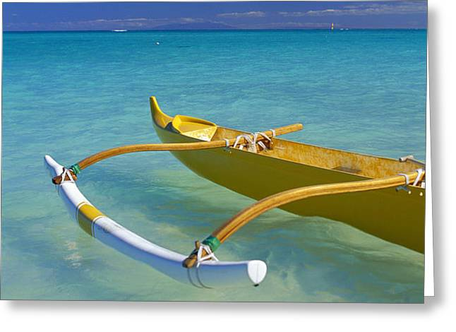 Close-Up Yellow Canoe Greeting Card by Dana Edmunds - Printscapes