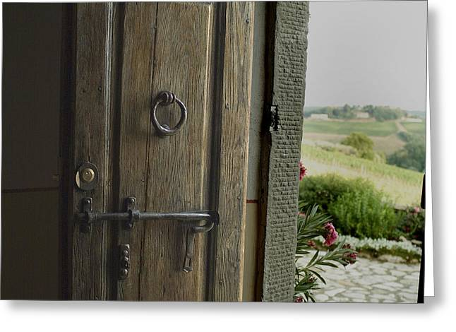 Close View Of A Wooden Door On A Villa Greeting Card by Todd Gipstein
