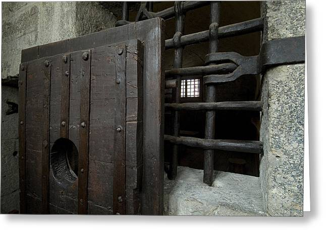 Close View Of Heavy Door To A Cell Greeting Card by Todd Gipstein