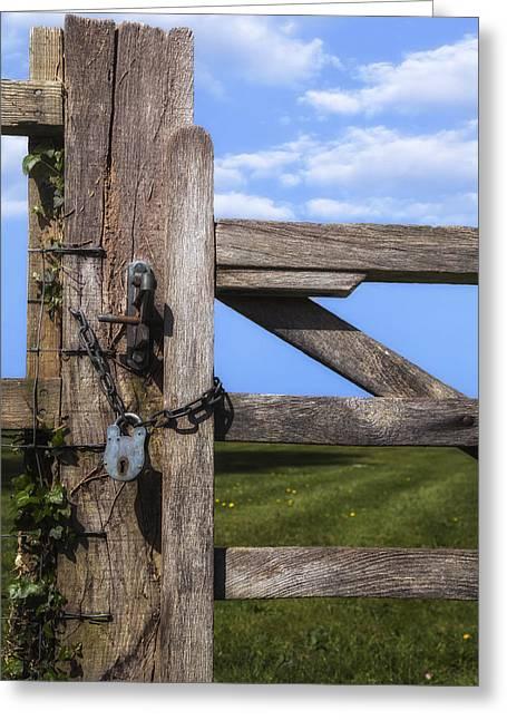 Paddock Greeting Cards - Closed Paddock Greeting Card by Joana Kruse