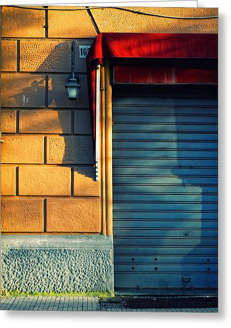 Wall Street Greeting Cards - Closed shop door at sunset Greeting Card by Silvia Ganora