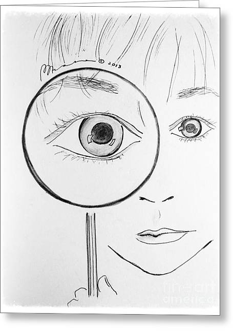 Pondering Drawings Greeting Cards - Closer Look Greeting Card by Barbara Chase