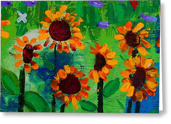 Closeup From Day And Night In A Sunflower Field Greeting Card by Angela Annas