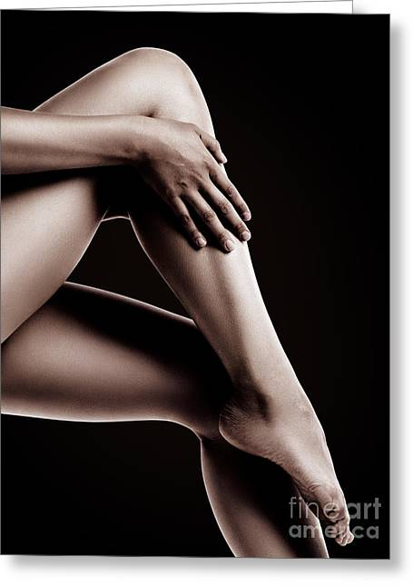 Female Body Greeting Cards - Closeup of Bare Woman Legs on Black Background Greeting Card by Oleksiy Maksymenko