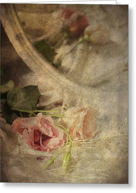 Closeup Of Flowers In Mirror Reflection Greeting Card by Ethiriel  Photography