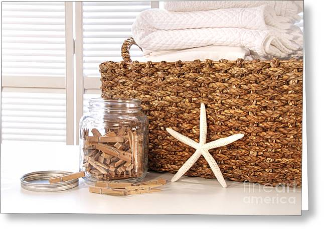 Basket Photographs Greeting Cards - Closeup of laundry basket with fine linens  Greeting Card by Sandra Cunningham