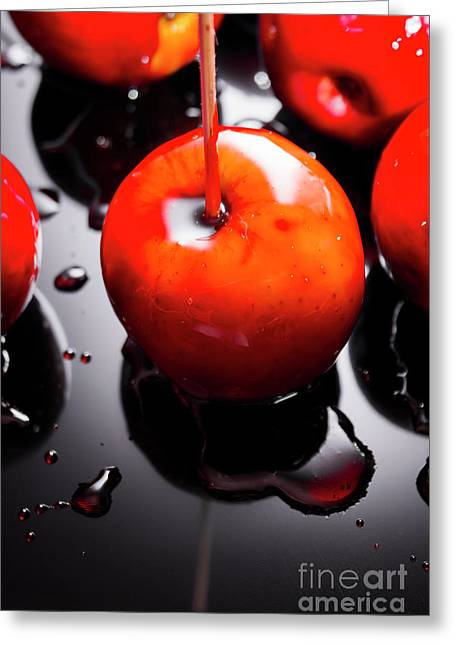 Closeup Of Red Candy Apple On Stick Greeting Card by Jorgo Photography - Wall Art Gallery