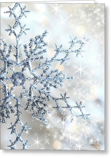 Snowy Night Greeting Cards - Closeup of snowflake Greeting Card by Sandra Cunningham
