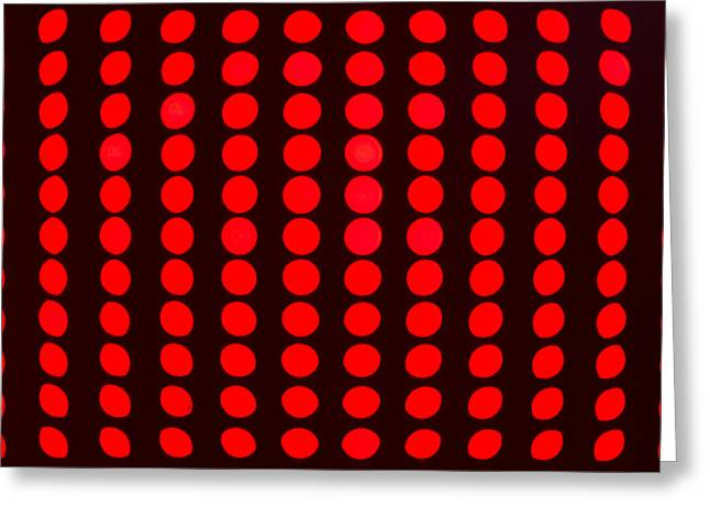 Twinkle Greeting Cards - Closeup Red LED Lights Greeting Card by John Williams