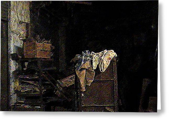 Shack Greeting Cards - Clothes in a Shack Greeting Card by Padamvir Singh