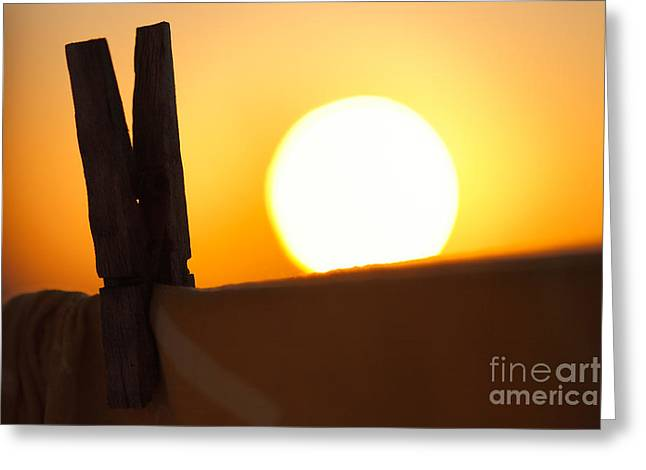 Clothes Pins Greeting Cards - Clothes peg at sunrise Greeting Card by Gaspar Avila