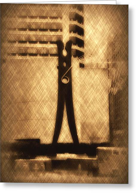 Center City Greeting Cards - Clothes Pin Statue - Philadelphia Greeting Card by Bill Cannon