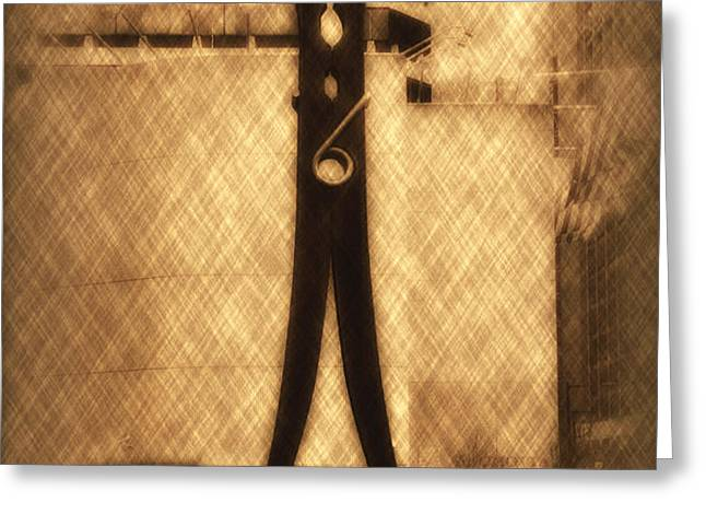 Clothes Pin Statue - Philadelphia Greeting Card by Bill Cannon