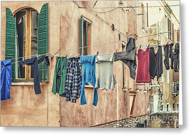 Canal Street Line Greeting Cards - Clothes to dry Greeting Card by Patricia Hofmeester