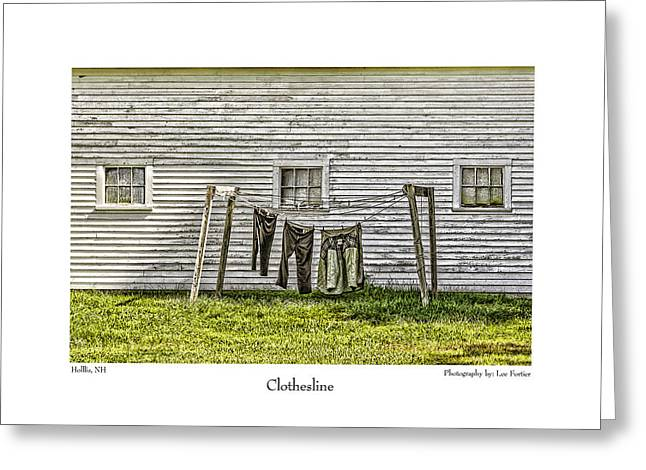 Dungarees Greeting Cards - Clothesline Greeting Card by Lee Fortier