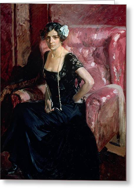 Short Hair Greeting Cards - Clotilde in an Evening Dress Greeting Card by Joaquin Sorolla y Bastida