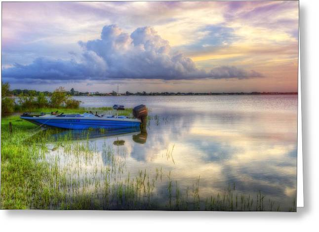 Reflection In Water Greeting Cards - Cloud Colors Greeting Card by Debra and Dave Vanderlaan