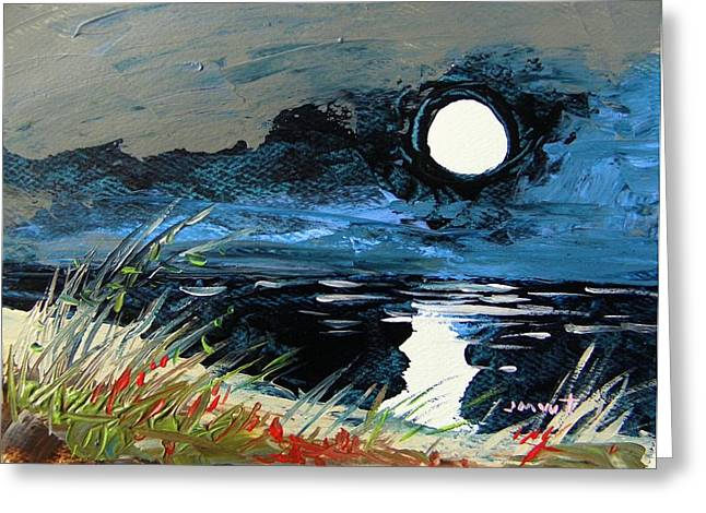 Moon Beach Drawings Greeting Cards - Cloud Cover Greeting Card by John  Williams