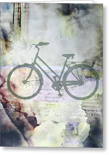 Urban Images Greeting Cards - Cloud Cycling Greeting Card by Nancy Merkle