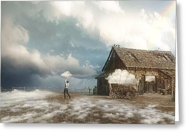 Cloud Farm Greeting Card by Cynthia Decker