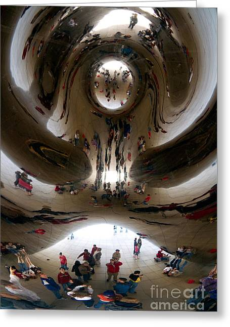 People Greeting Cards - Cloud Gate Sculpture Greeting Card by David R Frazier